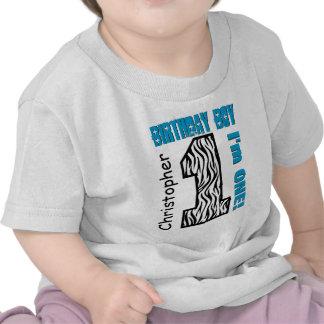 1st Birthday Zebra One Year Old Custom Name V002 Tee Shirt