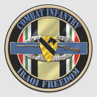 1st Cavalry Division Infantry OIF Classic Round Sticker