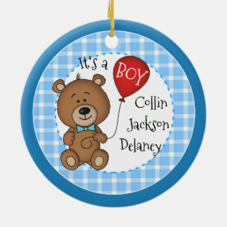 1st Child New Baby Boy Keepsake Christmas Gift Ceramic Ornament