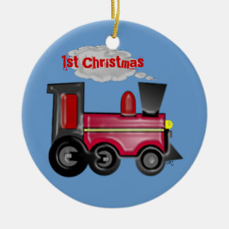 1st Christmas 3D Train Ceramic Ornament