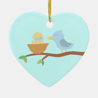 1st Christmas: Blue bird with just hatched baby Ceramic Ornament