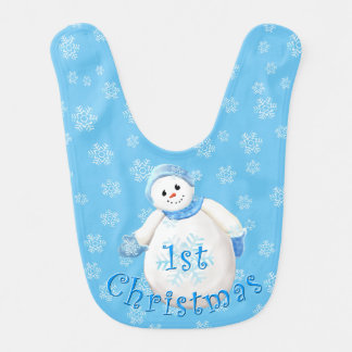 1st Christmas Cute Snowman and Snowflakes Bib