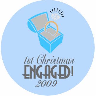 1st Christmas Engaged 2009 (Xmas Ornament) Photo Sculpture Ornament