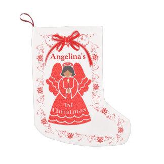1st Christmas Ethnic Angel Baby Girl Custom Name Small Christmas Stocking