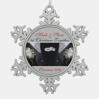 1st Christmas | Gay Marriage | Custom Snowflake Pewter Christmas Ornament