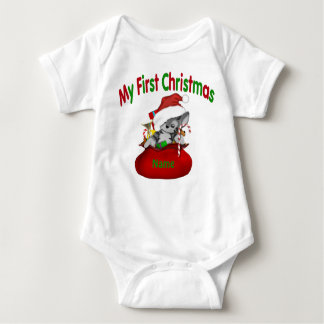 1st Christmas Kitty Personalized Baby Bodysuit