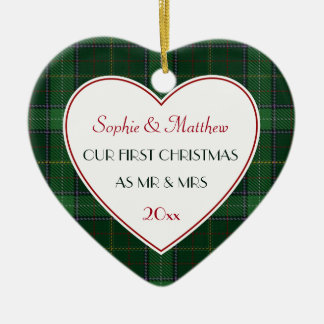 1st Christmas Married Green Plaid Gift Heart Ceramic Ornament