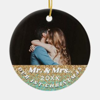 1st Christmas Mr. & Mrs. Blue Gold Glitter Photo Ceramic Ornament
