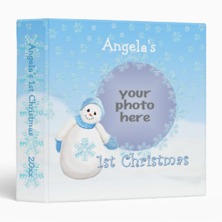 1st Christmas Snowman Memories 1.5 Avery Binder