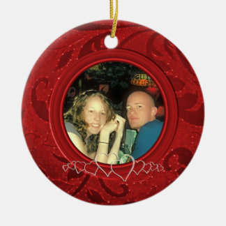 1st Christmas Together Custom Photo Personalized Round Ceramic Ornament
