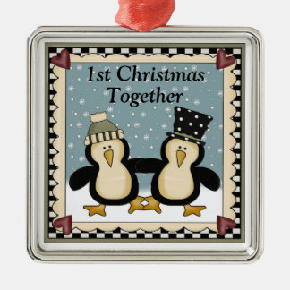 1st Christmas Together Penguin Gift Metal Ornament