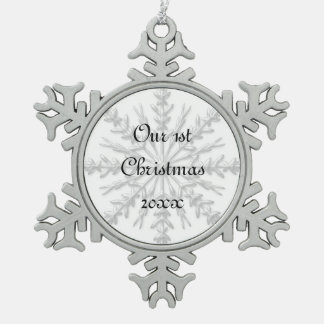 1st Christmas Together Snowflake Snowflake Pewter Christmas Ornament
