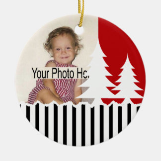 1st Christmas/ Trees and Stripes Photo Ceramic Ornament