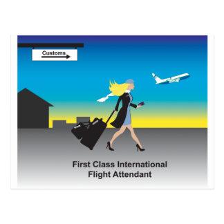 1st Class International Flight Attendant Postcard