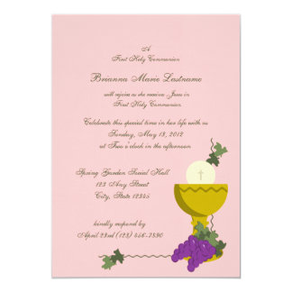 "1st Communion Chalice 5"" X 7"" Invitation Card"