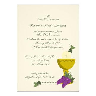1st Communion Chalice 5x7 Paper Invitation Card