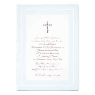 """1st Communion Soft blue and Brown 5"""" X 7"""" Invitation Card"""