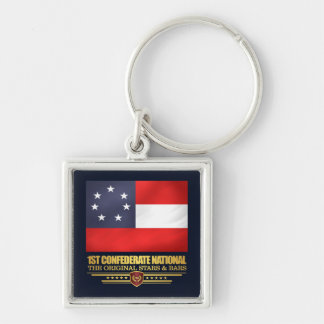1st Confederate National Silver-Colored Square Keychain