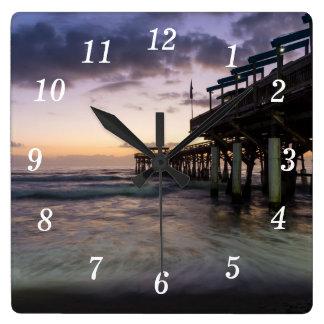 1st Dawn Cocoa Pier Square Wall Clock