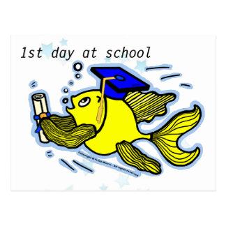 1st Day at School funny cute cartoon greeting card