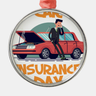 1st February - Car Insurance Day Metal Ornament