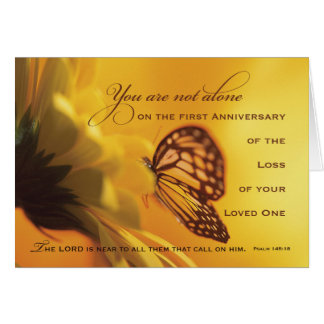 1st, First Anniversary Death of Loved One Flower Greeting Card