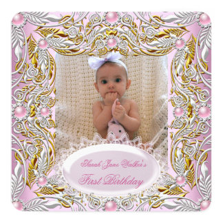 1st First Birthday Girl Pink White Gold Photo 2 Personalized Invitation Card