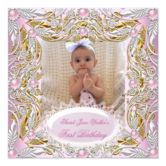 1st First Birthday Girl Pink White Gold Photo 2 Personalized Invitation