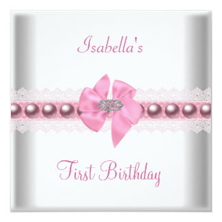 1st First Birthday Party Pretty Pink Bow Card