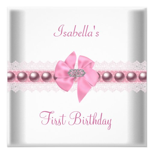 1st First Birthday Party Pretty Pink Bow Custom Announcement