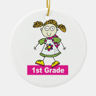 1st Grade Girls Round Ceramic Ornament