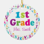 1st Grade Personalized School Teacher Ornament