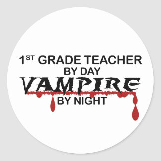1st Grade Vampire by Night Round Sticker
