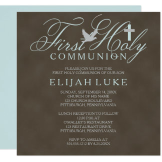 """1st Holy Communion Boy Dove Cross Brown Distressed 5.25"""" Square Invitation Card"""