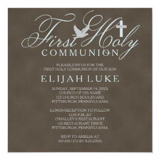 "1st Holy Communion Boy Dove Cross Brown Distressed 5.25"" Square Invitation Card"