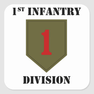 1st Infantry Division With Text Square Sticker