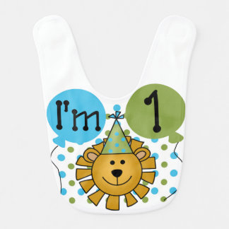1st Lion Birthday Bib