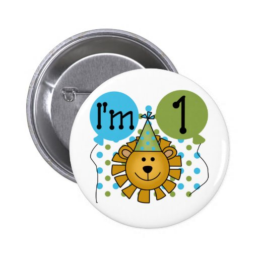 1st Lion Birthday Tshirts and Gifts 2 Inch Round Button