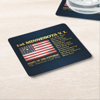 1st Minnesota Volunteer Infantry (BH) Square Paper Coaster