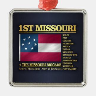 1st Missouri Infantry (BA2) Silver-Colored Square Ornament