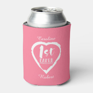 1ST paper wedding anniversary heart Can Cooler