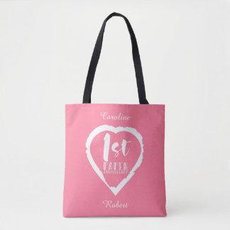 1ST paper wedding anniversary heart Tote Bag