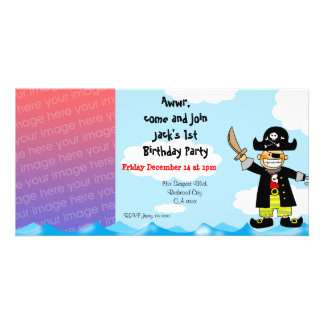 1st pirate birthday boy party invitations