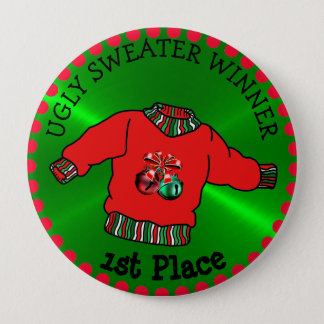 1st Place Ugly Sweater Winner Christmas Gold Medal 4 Inch Round Button
