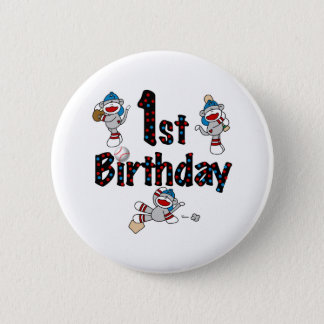 1st Sock Monkey Baseball Birthday 2 Inch Round Button
