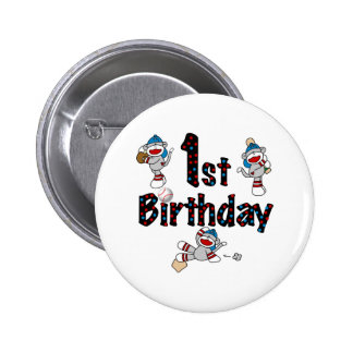 1st Sock Monkey Baseball Birthday 2 Inch Round Button