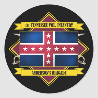 1st Tennessee Volunteer Infantry (Flags 3) Classic Round Sticker
