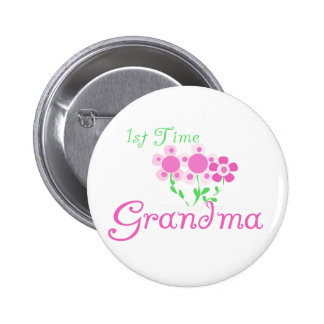 1st  Time Grandma-Pink Flowers 2 Inch Round Button