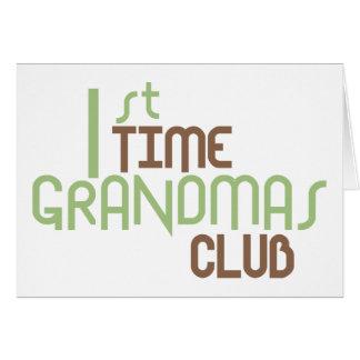 1st Time Grandmas Club (Green) Greeting Cards