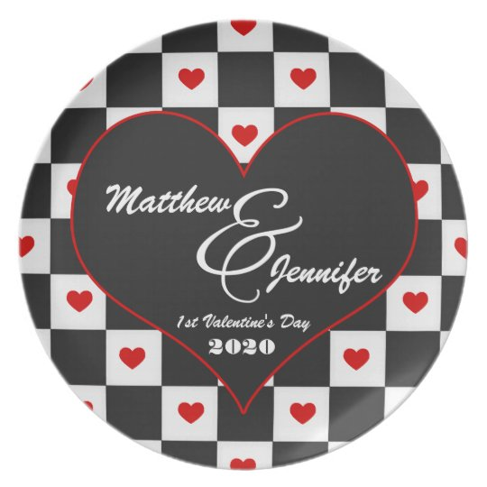1st Valentine's Day | Custom Heart Plate